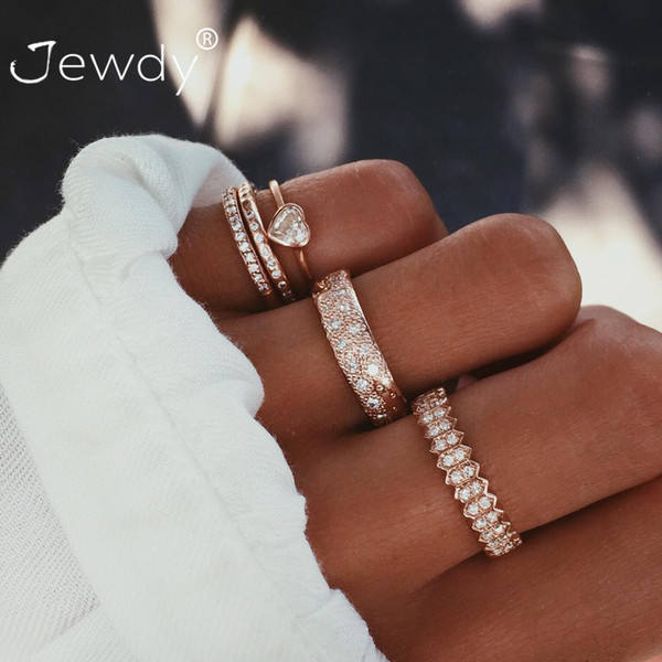 5 Pcs/set Full Crystal Midi Rings For Women Bohemian Moon Heart Charms Gold Rings Wedding Party Punk Jewelry New Fashion Gifts
