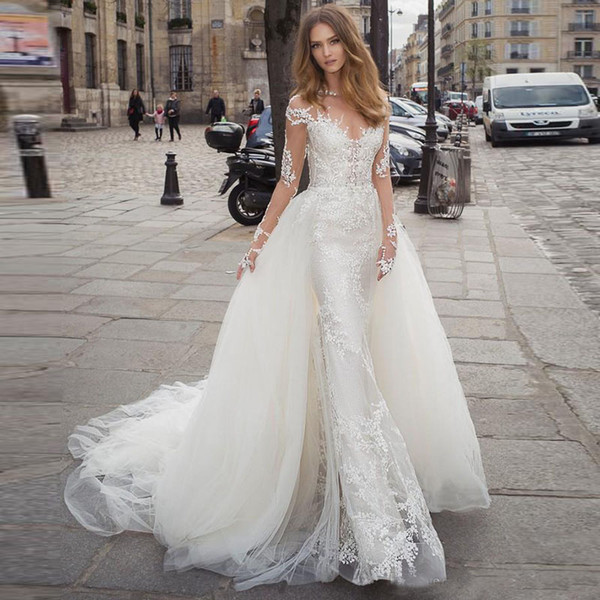 2020 Mermaid Wedding Dresses With Detachable Train Illusion Sheer Neck Long Sleeves Bridal Gowns Lace Appliqued Backless Wedding Dresses Lace Wedding