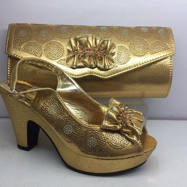 Incrível ouro sandália sandálias e bolsa de noite conjunto agradável de harmonização para o vestido de festa GY34, altura do salto 8 cm