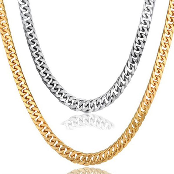 Gold Chain For Men Stainless Steel Gold Color Cuban Link Chain Necklaces Male Hip Hop Jewelry Wholesale Ketting Dropshipping