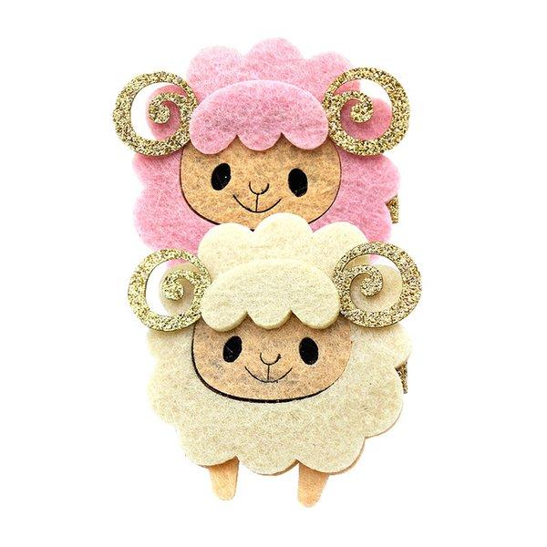 10pcs Boutique Cute Glitter Sheep Hairpins Solid Felt Cartoon Animal Hair Clips Princess Headware Fashion Hair Accessories