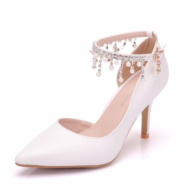 Pompe di fiori strass per le donne Tacchi alti scarpe a punta Tacco alto Scarpe da sposa Tacchi partito Scarpe da donna
