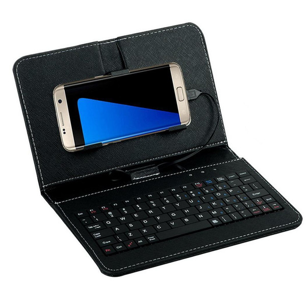 Portátil General con cable Flip-cover Phone Keyboard Holster Micro USB para Android OTG Home, Office, Travel Phone