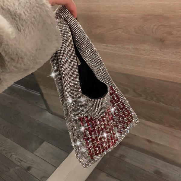 sac à main de luxe 2019 nouveau design mode brillant lettres diamant sac fourre-tout sac de soirée en soirée sac mode sacs à main occasionnels sac à main