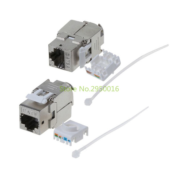 OMPUTER Office Computer Cables Connectors 1PC RJ45 Keystone CAT6 / CAT6A экранированный экранированный FTP цинковый модуль сетевой Keystone Jack C ...