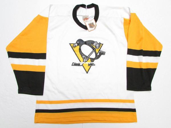 Günstige benutzerdefinierte PITTSBURGH PINGUUINS VINTAGE CCM WEISSER HOCKEY JERSEY-Stich fügen Sie eine beliebige Anzahl einen beliebigen Namen Herren Hockey Jersey XS-6XL hinzu