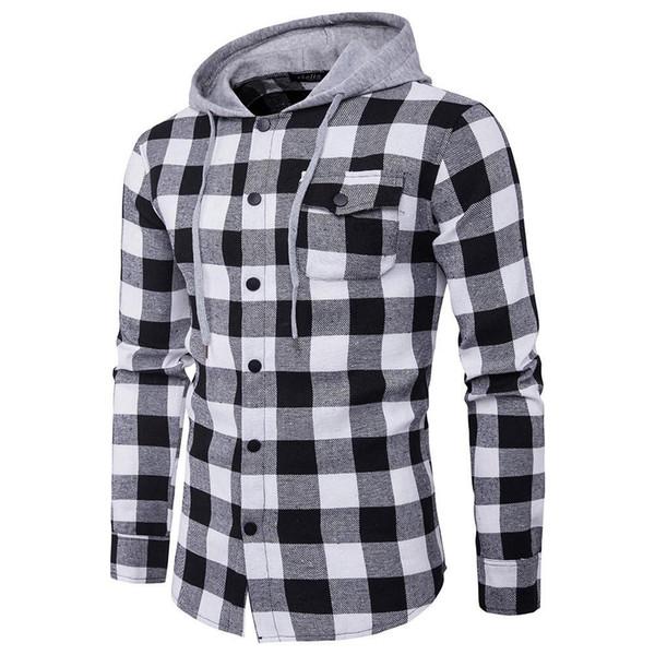Весна Осень Hoodies Tracksuit Мужской Осень Повседневной плед рубашка с длинным рукавом пуловер рубашка Top капюшона Блуза Спортивной горячей
