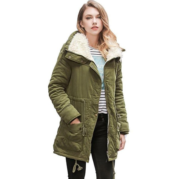 Moda mujer corderos de lana Parka abrigo largo de algodón de invierno gruesa felpa cálida chaqueta de solapa prendas de vestir exteriores más el tamaño de la cintura ata para arriba abrigo