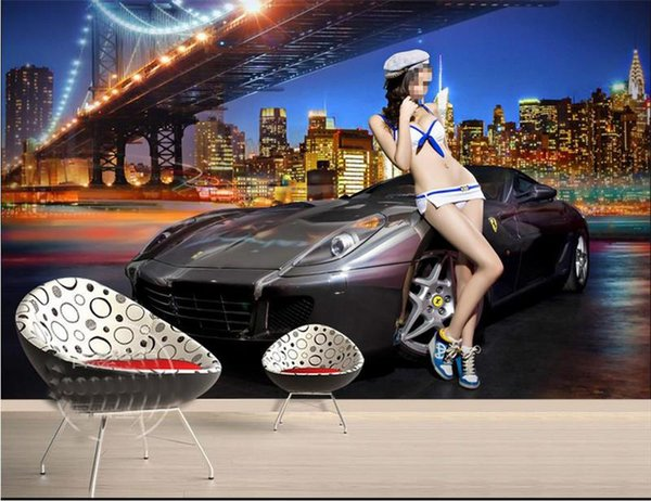 custom size 3d photo wallpaper living room bed room mural sports car beauty city view picture sofa TV backdrop wallpaper non-woven sticker