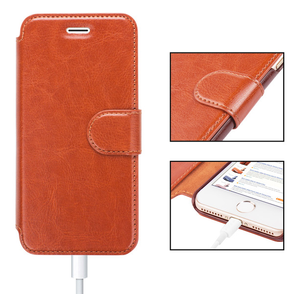 Designer For iPhone 6 8 7 Plus Leather Wallet Case with Cards Slot Metal Magnetic Slim Fit Heavy Duty PU Flip Case Brown