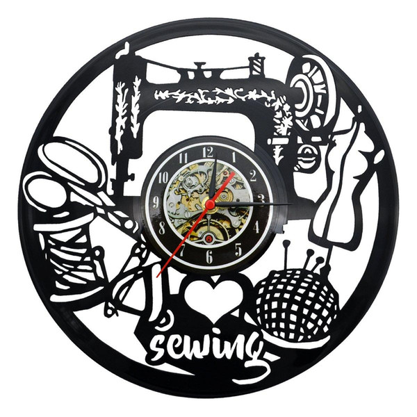 top popular Sewing Vinyl Record Clock Home Decor Art Decorative Vintage Wall Clock Gift for Your Friends or Family 2019