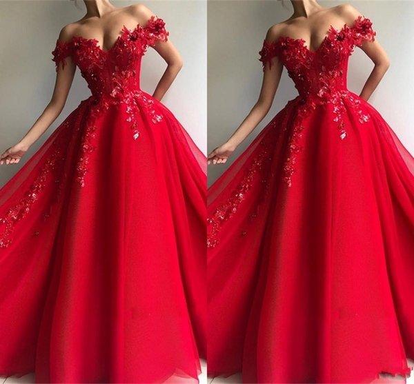 Elegante de un hombro Vestidos de baile rojos 2019 Árabe Apliques de hombro Apliques Lentejuelas Una línea Vestidos Vestidos largos de noche Vestidos de desfile de famosos