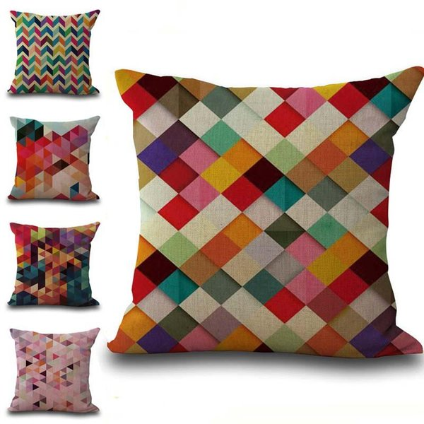 Colors Geometric Stripes Diamond Pillow Case Cushion Cover Linen Cotton Throw Pillowcases Sofa Cars Decorative Pillowcover 240550