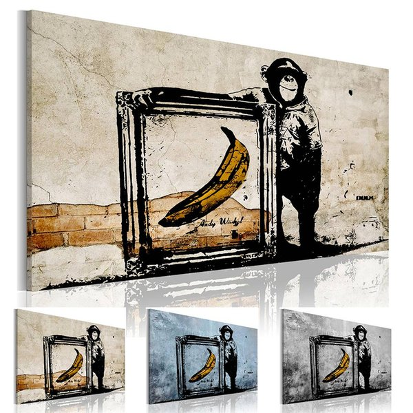 Wandkunst von Affen und Bananen Malerei Bilder Druck auf Leinwand Das Bild für das Zuhause Moderne Dekoration Stück (Rahmen: Nein)