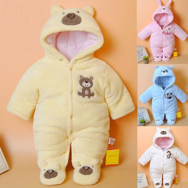 Newborn Rompers Cartoon Hooded Winter Clothing Thick Cotton Girls Outfits Baby Boys Jumpsuit Infant ClothesMX190912
