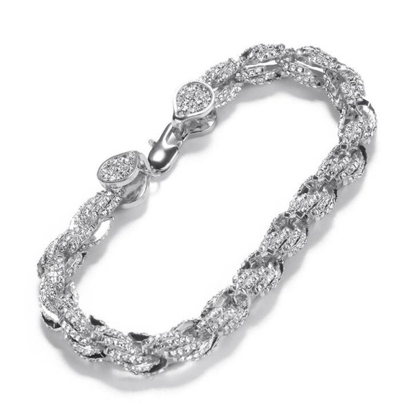 Hip-hop alloy inlaid drill 9mm twist bracelet twisted rope chain new fashion personality men's Bracelet wholesale