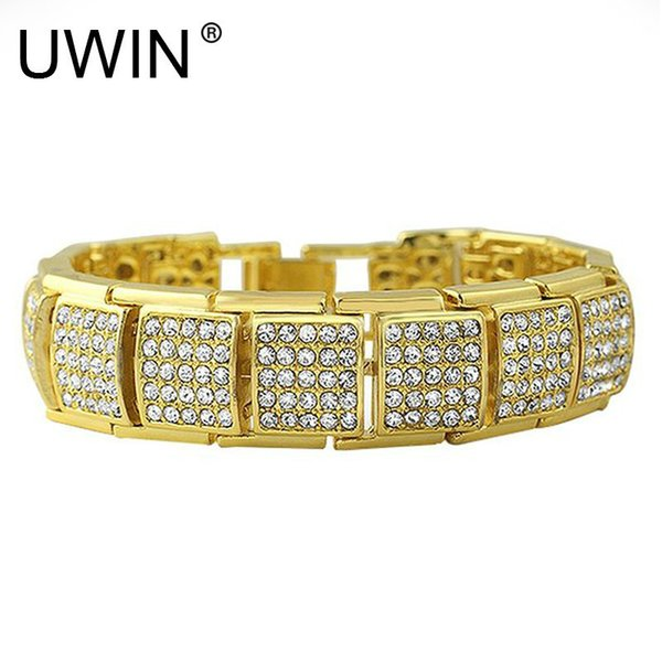 Uwin Hip Hop Men Bracelet Fashion Punk Jewelry Iced Out Full Rhinestone Crystal Silver Gold Color Bangle Bracelets 20cm J 190430