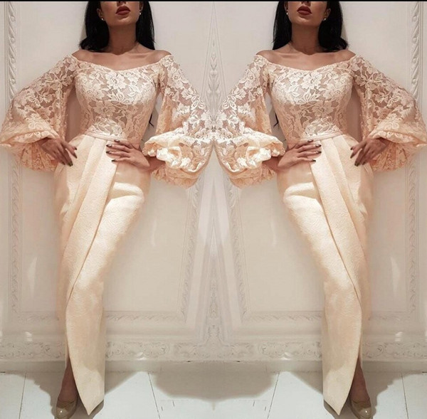 Champagne Poet Long Sleeve Evening Dresses Elegant Bateau Lace Prom Party Gown Arabic Robe de Soiree BC2021