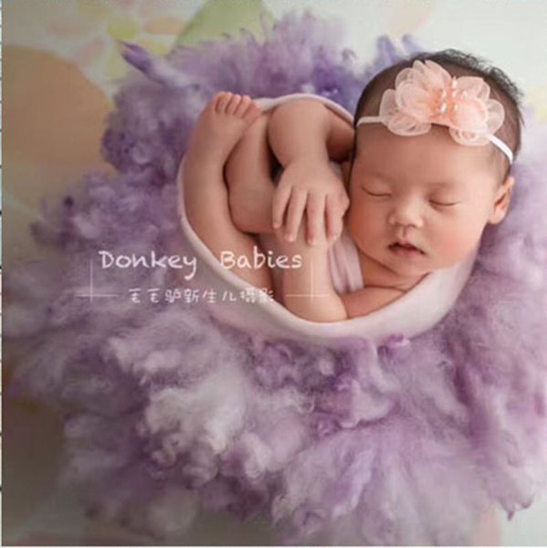 Newborn Photography Props Basket Stuffer Layer Round Felt Wool Blanket Fluff Felted Curly Wool Studio Backdrop