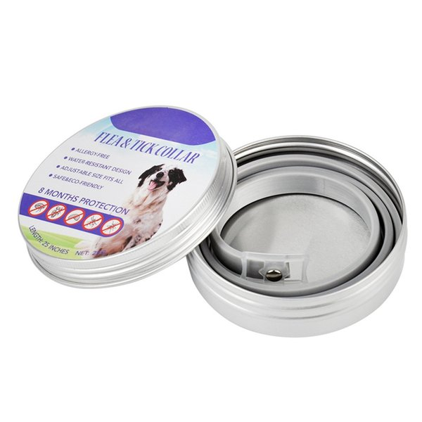 Pet Flea Tick Prevention Solution-Natural Essential Oil Grey Adjustable Collar for Dogs 8 Months Protection Puppy Use