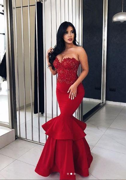Compre Encaje Rojo Con Cuentas Sexy 2018 Vestidos De Noche Mermaid Satin Vestidos De Fiesta Baratos Vestidos Elegantes Para Fiestas Formales A 9749
