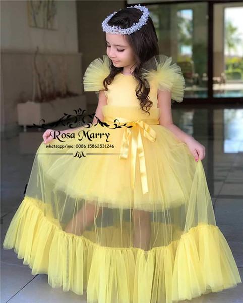 Прекрасный желтый цветок девочки платья для свадьбы 2020 Cupcake Плюс Размер Дешевые девушки день рождения Первое причастие Для Детей младшего возраста