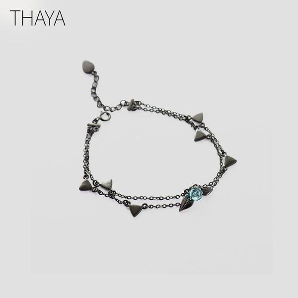 Thaya 100% 925 argento spine rosa braccialetto a due strati di cristallo fiore nero catena braccialetto di collegamento per le donne gioielli regalo di stile della corea Y19051602
