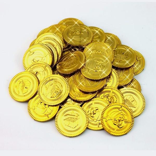 50/100 Stücke Piratenschatz Kunststoff Münze Requisiten Goldmünze Für Halloween Party Requisiten Kinder dekoration Party Spielzeug Schatz Münzen 3 cm 6z