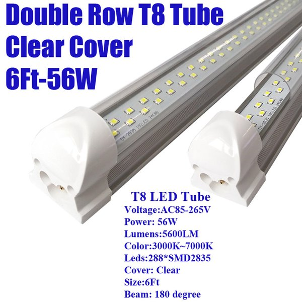 6Ft 56W Double Row Clear Cover
