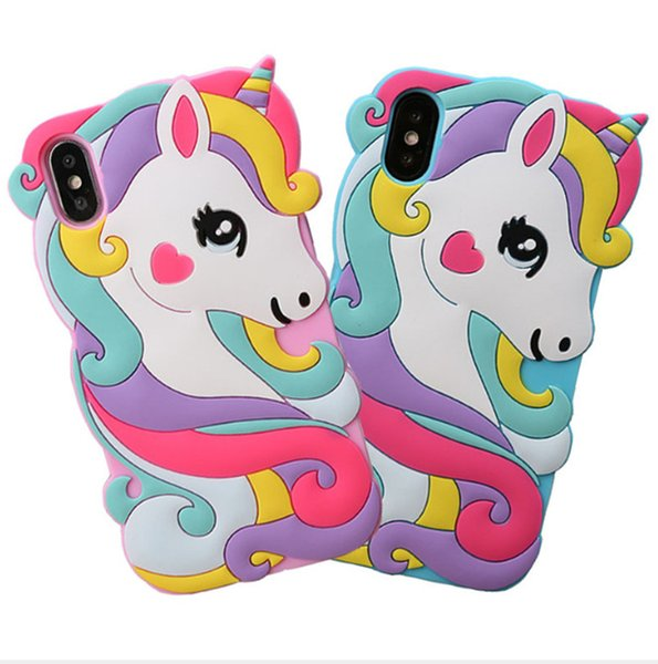 New 3D Unicorn Cute Cartoon Animals Soft Rubber Silicone Shockproof Drop Protection Kawaii Bumper Case Cover For iPhone 6 7 8 X XS Max XR