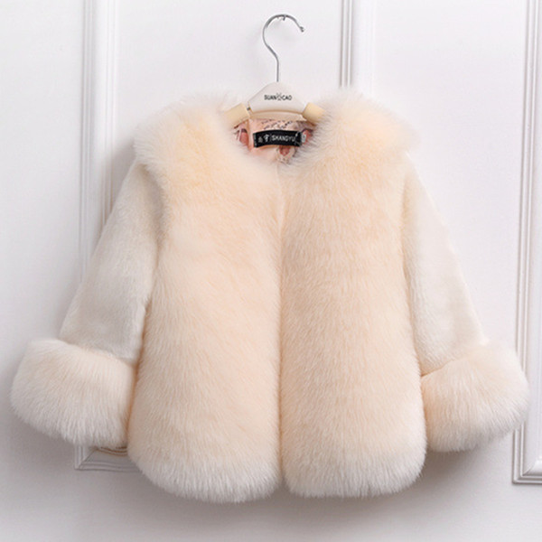 Sunshine & Rainy Winter Girls Fur Coat Elegant Baby Girl Faux Fur Jackets And Coats Thick Warm Parka Kids Boutique Clothes