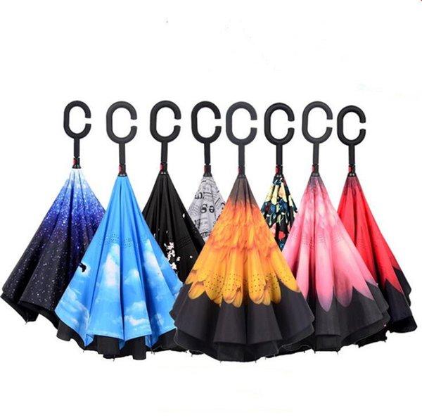 Dhl / free umkehrschirm doppelschicht invertiert faltende regenschirme mit c griff selbst stehen innen heraus regenschirm umge sonnenschirm 2019 a2206