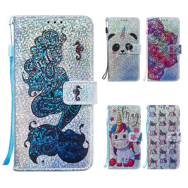 Glitter wallet case para xiaomi redmi 7a redmi 6 6a dos desenhos animados phone case para xiaomi redmi k20 pro nota 7 couro flip casos capa
