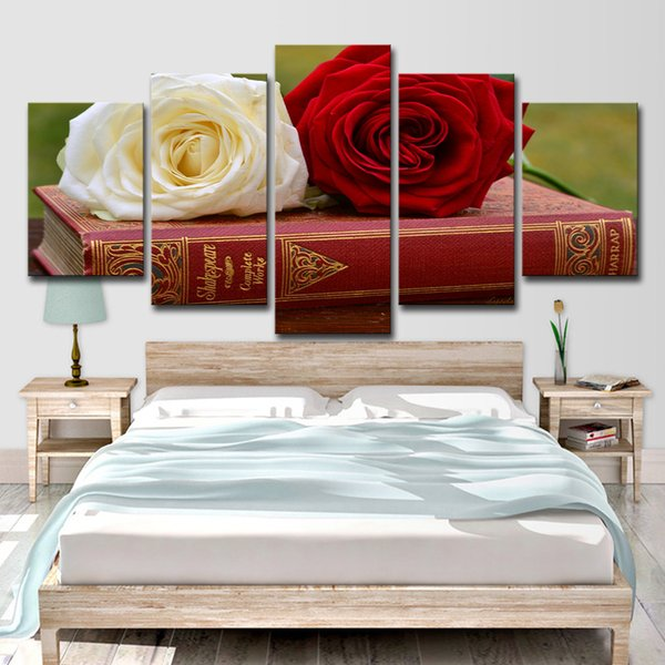Canvas Painting Picture Wall Art Home Decoration 5 Panels Red Rose And White Rose For Living Room Modern Printing Type