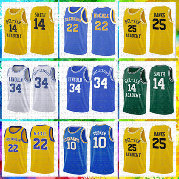MEN'S Fresh Prince 14 Will Smith 25 Carlton Banks Basketball Jersey 34 Jesus Shuttles-estima Ray Allen Lincoln filme Amor 22 McCall
