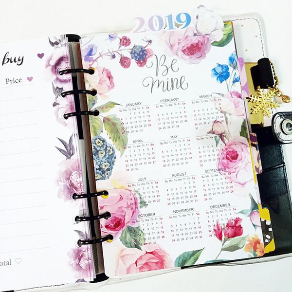 2019 Calendário Criativo flores Notebook Índice Divisores Caderno Espiral Folha De Folhas Soltas Separador Páginas De Papel Dentro Da Página