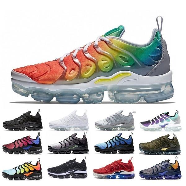 Acheter Nike Air Vapormax TN Plus Nouvelle Arrivée Livraison Gratuite Designers Chaussures Sneakers TN TN Rainbow Plus Respirant Air Cusion Chaussures