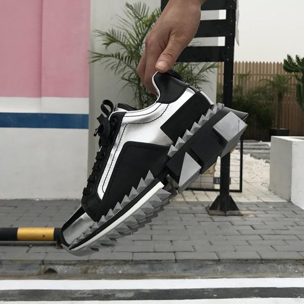 2019 Sapatilhas Super King mens designer Sapatos de Fundo Vermelho 100% real Couro Sorrento Sneakers dois tons de sola de borracha mulheres Sapatos Casuais Formadores