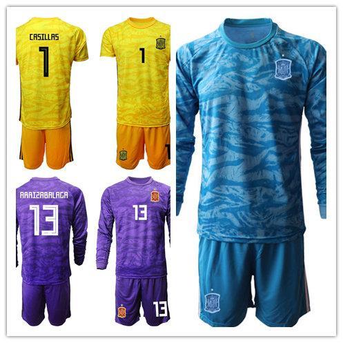 Spain Goalkeeper GK Soccer 1 Iker Casillas Jersey Set Goalie 13 Kepa Arrizabalaga 1 David De Gea 23 Pepe Reina Football Shirt Kits
