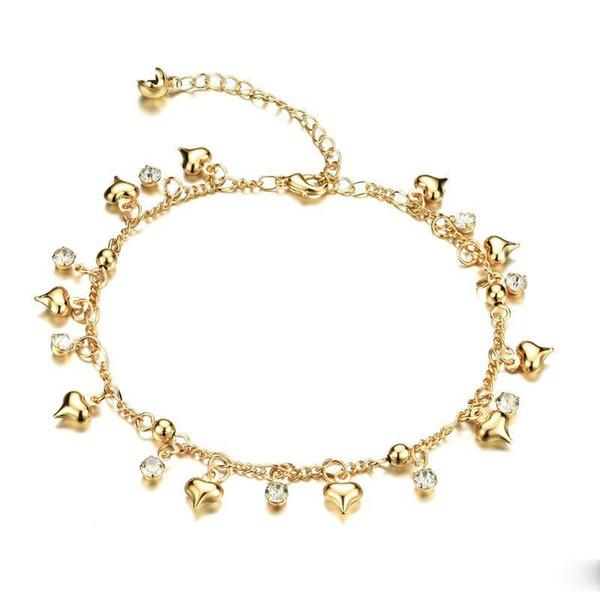 Alta qualità reale 18 k placcato oro giallo cz cuori cavigliera per le ragazze le donne per la festa nuziale bel regalo