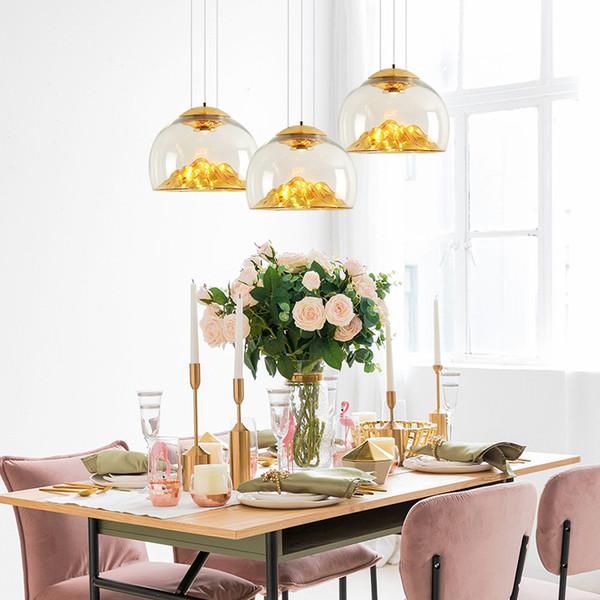 Nordic Gold e Silver Hill Pingente de vidro Luz Bola Modern Decor Lamp Sala Restaurante Crianças de cabeceira quarto de iluminação