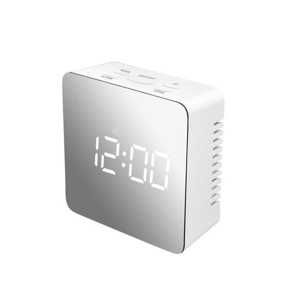 Despertador digital Espejo cuadrado / rectángulo LED reloj de pared de noche Luz de alarma del reloj relojes de escritorio pantalla de temperatura decoros caseros Reloj