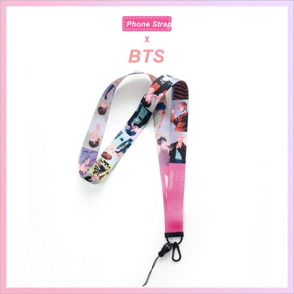 Kpop BTS Mapa da Alma: Persona Bonito Telefone Do Laser Alça de Pescoço Chaveiro Chaveiro Titular Chave JK JM RM Moda Cordão Cartão Crachá Titular
