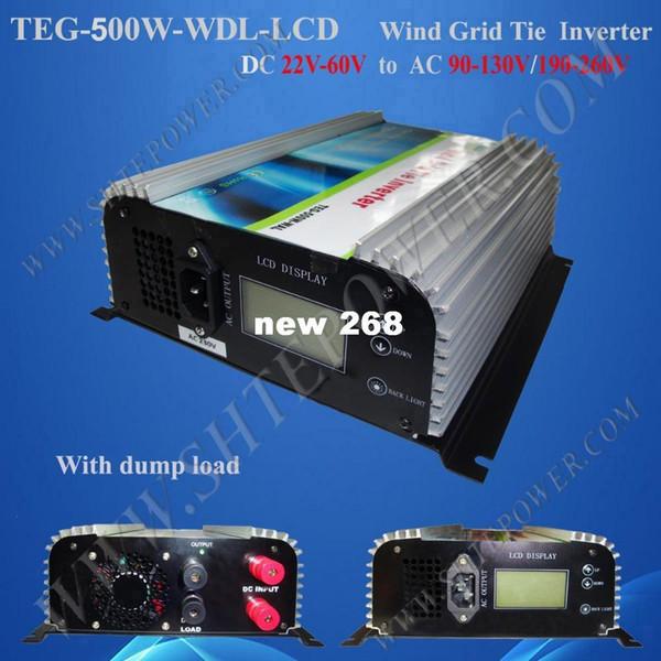 Freeshipping 22V-60V to 110V/220V/230V Wind Turbine Grid Power Inverter 500W DC to AC With LCD and Dump Load
