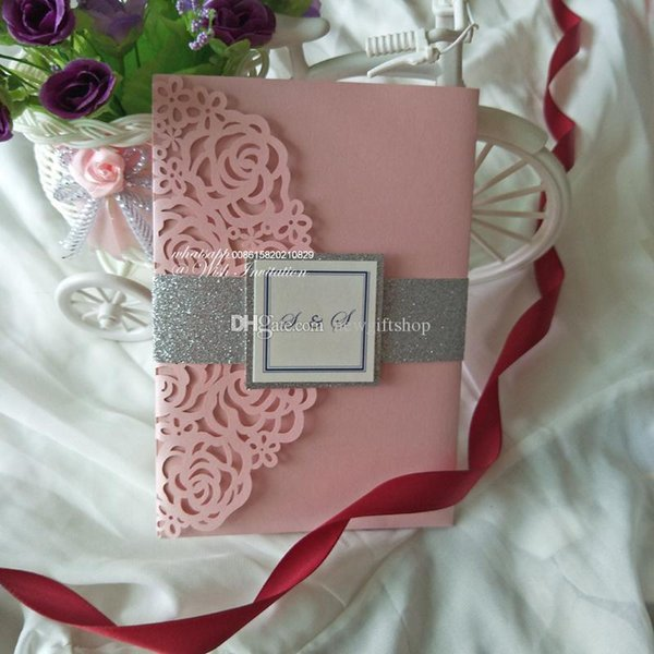 Luxury Blush Pink Trifold Pocket Wedding Invites with Glitter Band and Tag 2019 Shimmy Dinner Birthday Party Invitations with RSVP Card