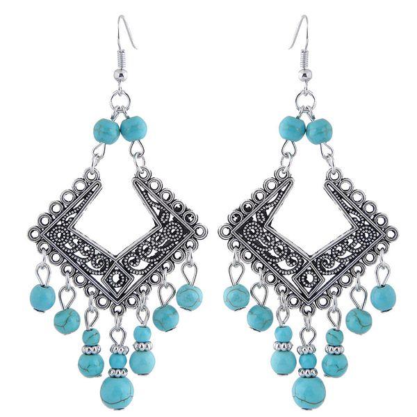 Folk-custom Retro Vintage Fashion Accessories Jewelry Ancient Turquoise Beads Geometric Square Pendants Charm Drop Dangle Earrings For Women