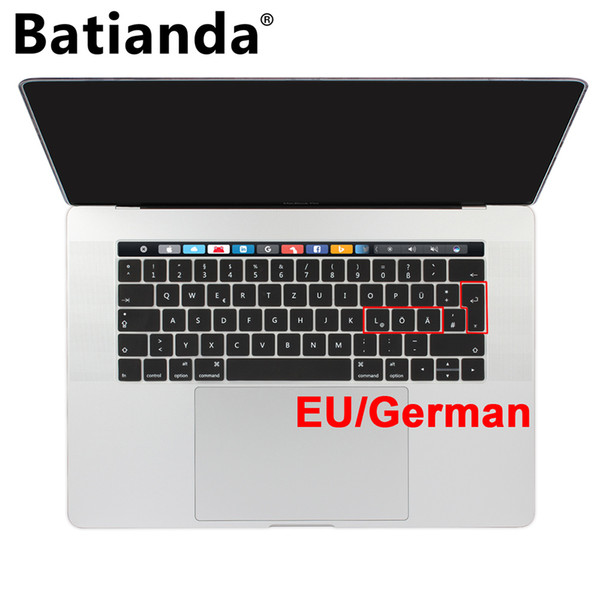 Euro/UK German Italian Keyboard Cover Stickers for New MacBook Pro Retina 13 13.3 15 inch Touch Bar Silicone Protector Black
