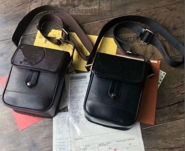 MESSENGER Classic Men \ 's Water Wave Single Bag Ombro Carteiro Bag Black 0012