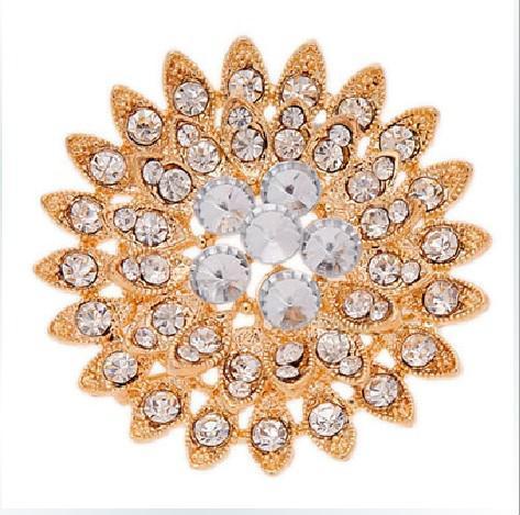 Gold Plated Clear Rhinestone Crystal Sun Flower Sparkly Diamante Brooch