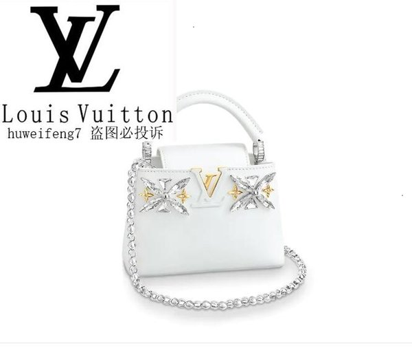 libobo7 M55013 CAPUCINES MINI White Kristall Iconic Taschen Frauen Hand ICONIC BAGS HAND Taschen Schulter TOTES Umhängetasche
